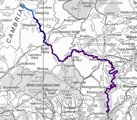 Map of the River Wye Valley