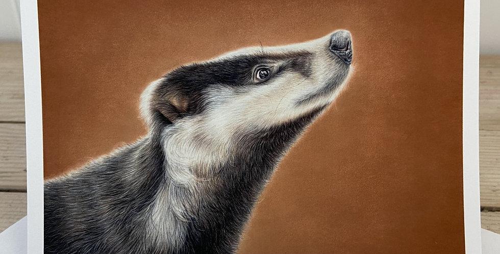 'A Badger's Gaze' Greeting Card