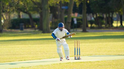 Taj Hussain striking a boundry