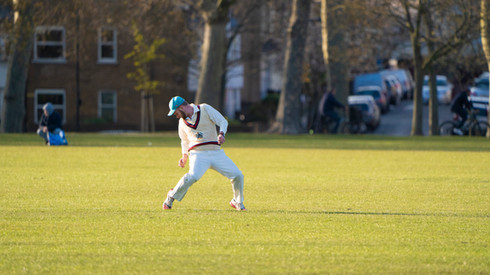 Dudley Spiers drops a catch on the boundary