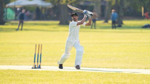 Mahran Rahman striking the third of 3 sixes