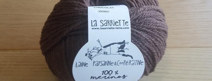 Pelote Chocolat 100% Mérinos cardé Aig. 4,5