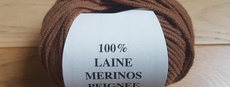 Pelote marron 100%Mérinos peigné Aig 3.5/4