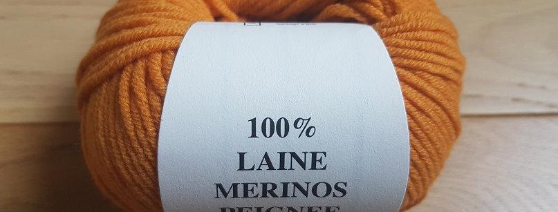 Pelote orange 100% Mérinos peigné Aig 3.5/4