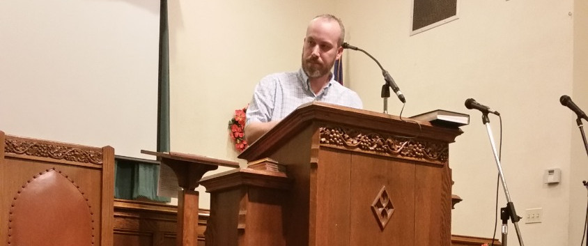Patrick preaching at First Baptist