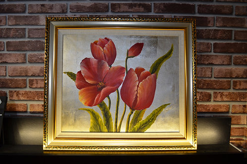 Fortune Red tulips with gold frame