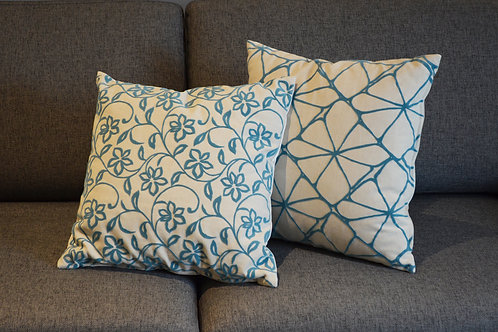 Blue Flower/ Geometric Cushion