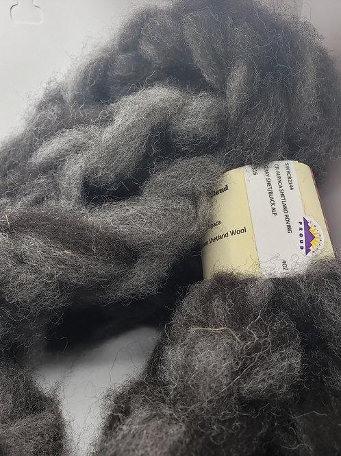 Alpaca Shetland Roving- Grey Shetland, Black Alpaca
