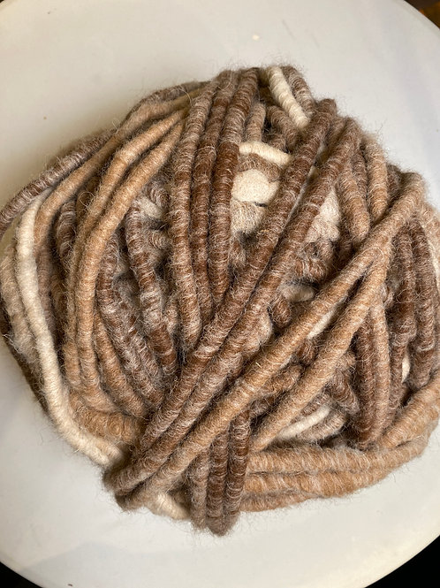 Alpaca Rug Yarn with Wool Overlay - Browns
