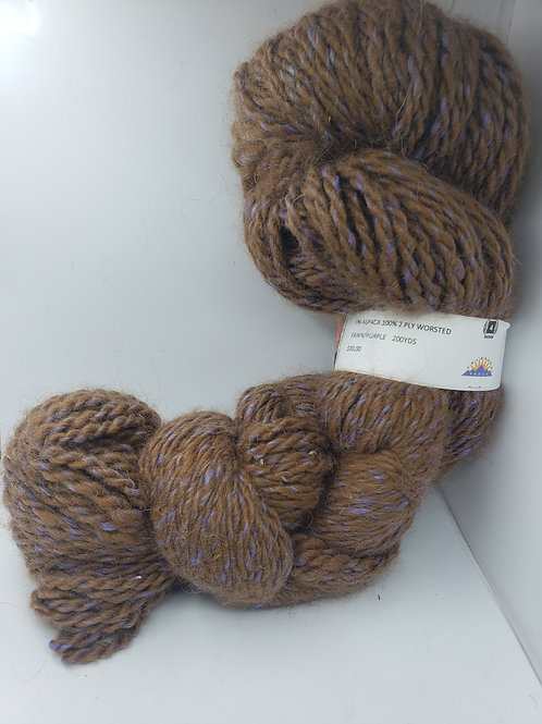 100% Alpaca 2-Ply Worsted- Fawn/Purple