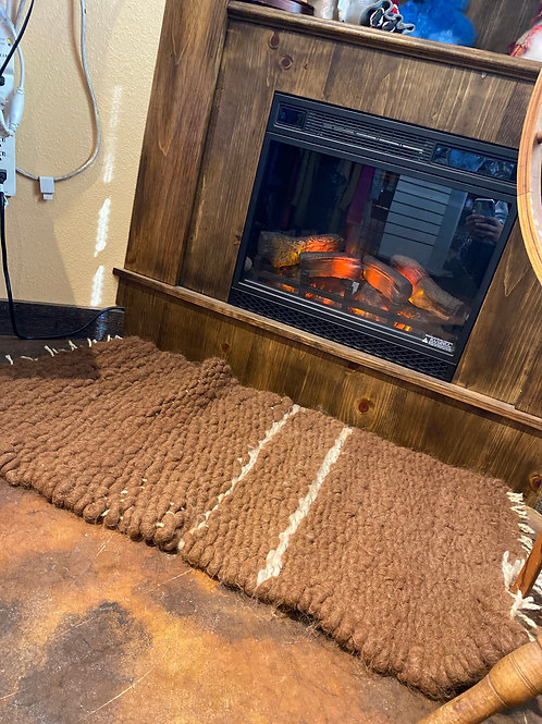 Hand-Woven Alpaca Rug Brown with Stripes