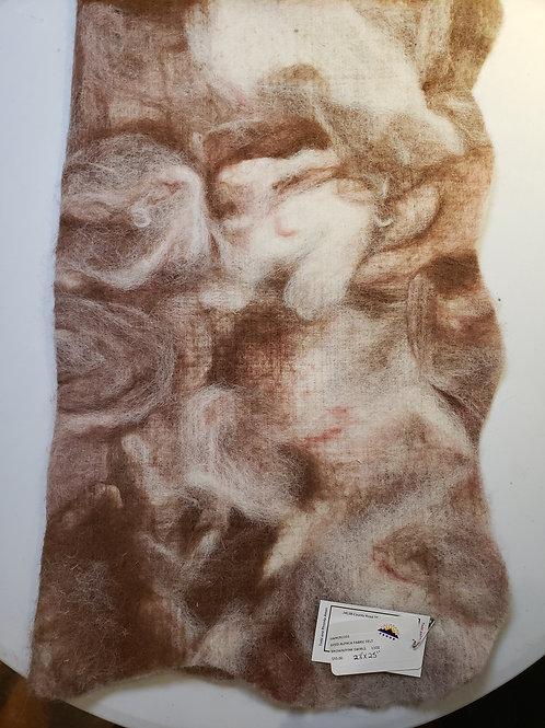 Dyed Alpaca Felt Sheet - Brown/Pink Swirls