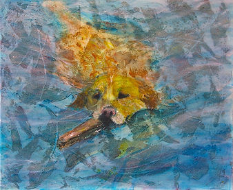 golden retriever painting acrylic texture canvas