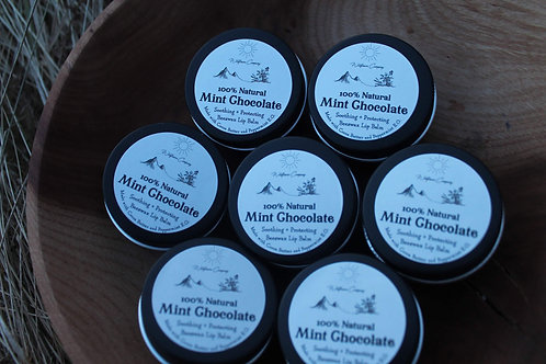 Mint Chocolate Beeswax Lip Balm - All-Natural - 1 oz Black Tin