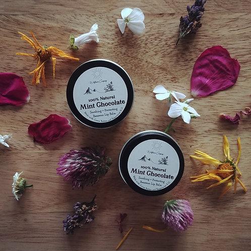 Mint Chocolate Beeswax Lip Balm - All-Natural - 1 oz Black Tin