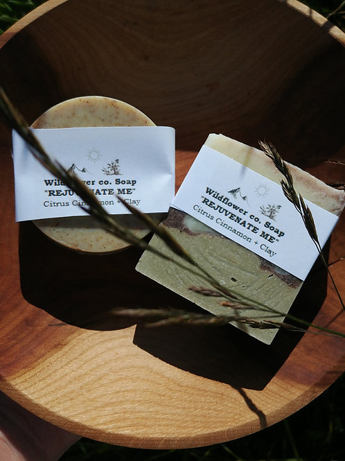 """Rejuvenate Me"" - Citrus, Cinnamon + Healing Clay - All-Natural Soap Bar"