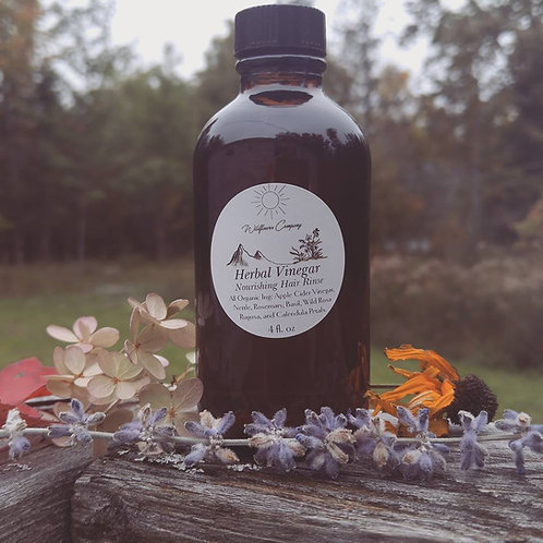 Nourishing Herbal Vinegar ~ Hair Rinse ~ 4oz Glass Bottle