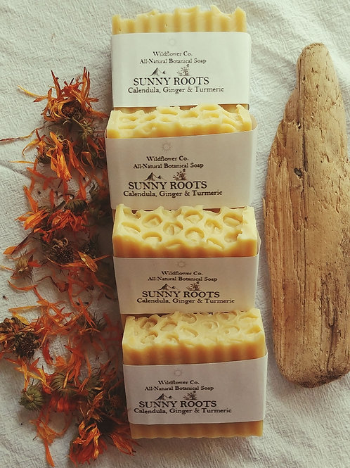 Sunny Roots - Calendula, Ginger + Turmeric infused Shea Butter Soap Bar