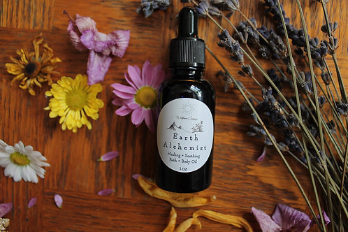 """Earth Alchemist"" Lavender & Calendula Infused Bath & Body Oil - 1oz"