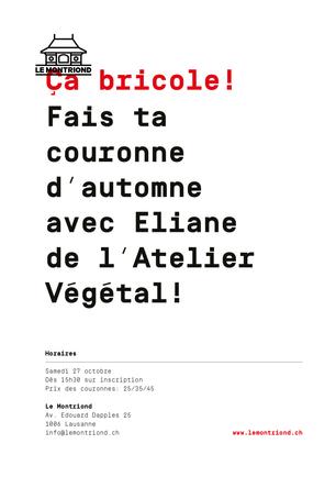 Ça Bricole des Couronnes d'automne Samedi 27 à 15h30 avec Eliane de L'atelier Végétal! Inscr