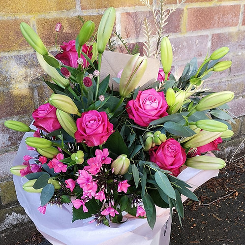 Deep Pink Roses and Lilies