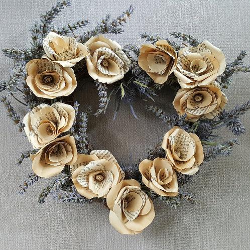 Vintage Book Page Lavender Heart Wreath