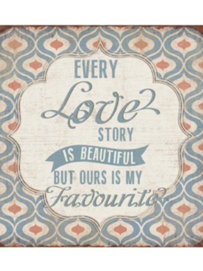 Love Story Aged Metal Sign