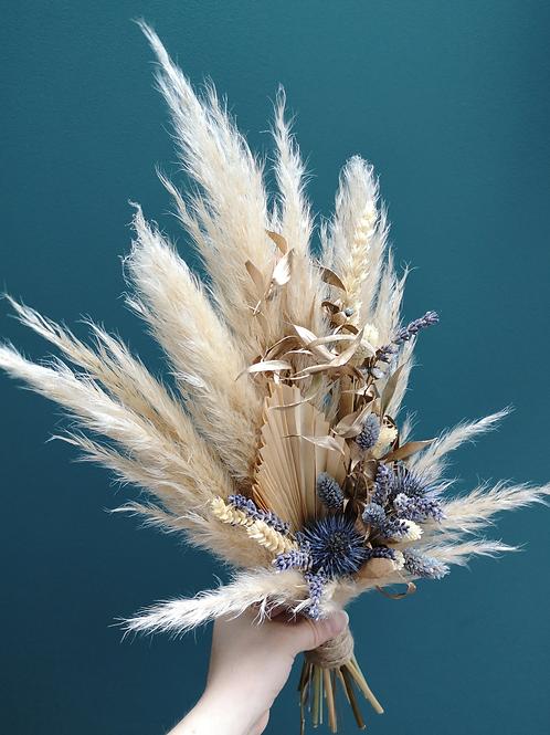 Blue grey dried florals pampas spray
