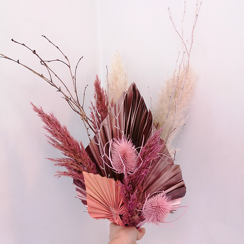 Pink palms and pampas
