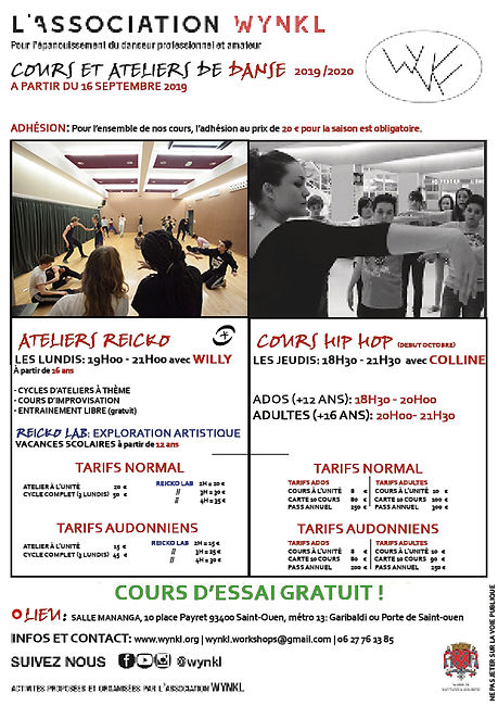 FLYER COURS - REICKO  ST OUEN 2019 2020.