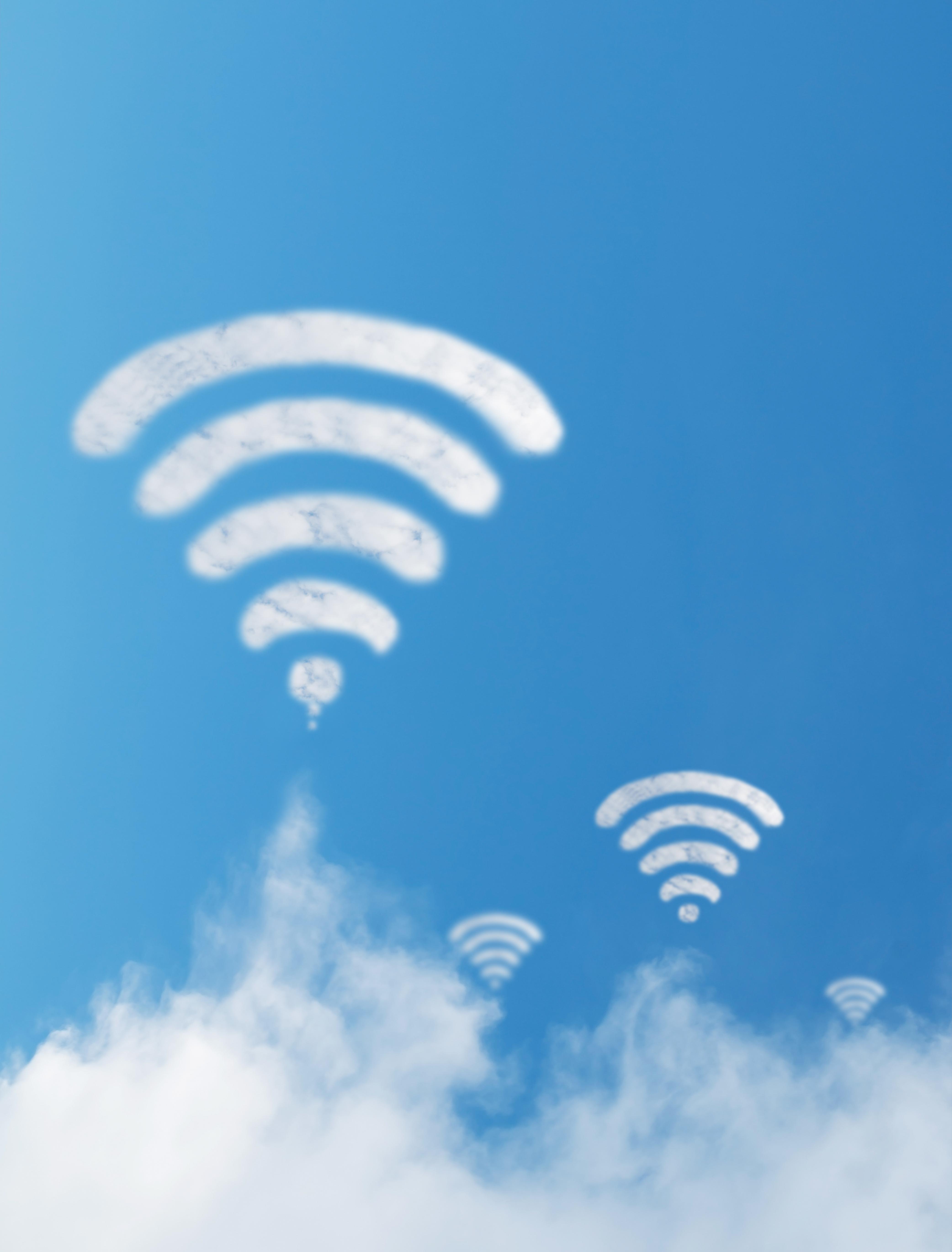 Wifi cloud shape with blue sky background