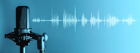 Professional microphone with waveform on blue background banner, Podcast or recording stud