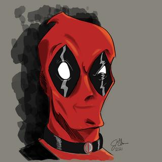 Deadpool head sketch