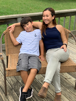 Yoko Loftis and her son Hugh