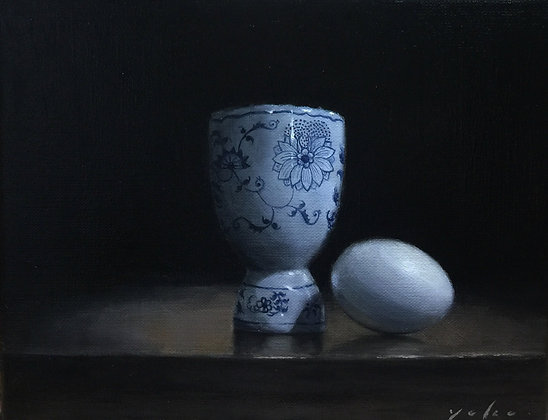 "Still Life Oil painting 8x10 inch ""Egg stand"""