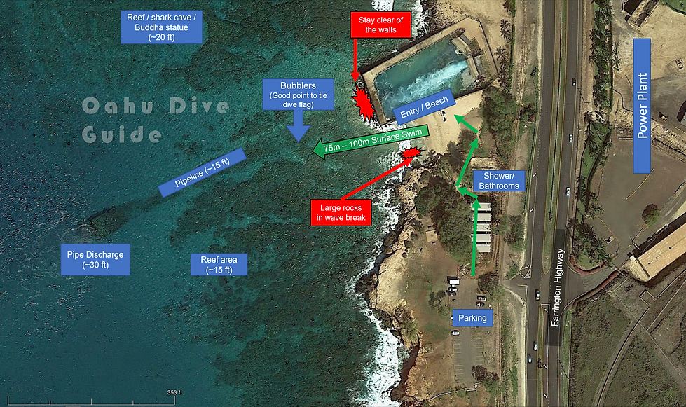 Kahe Beach Scuba Dive Map