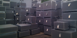 Large stack of shipping crates