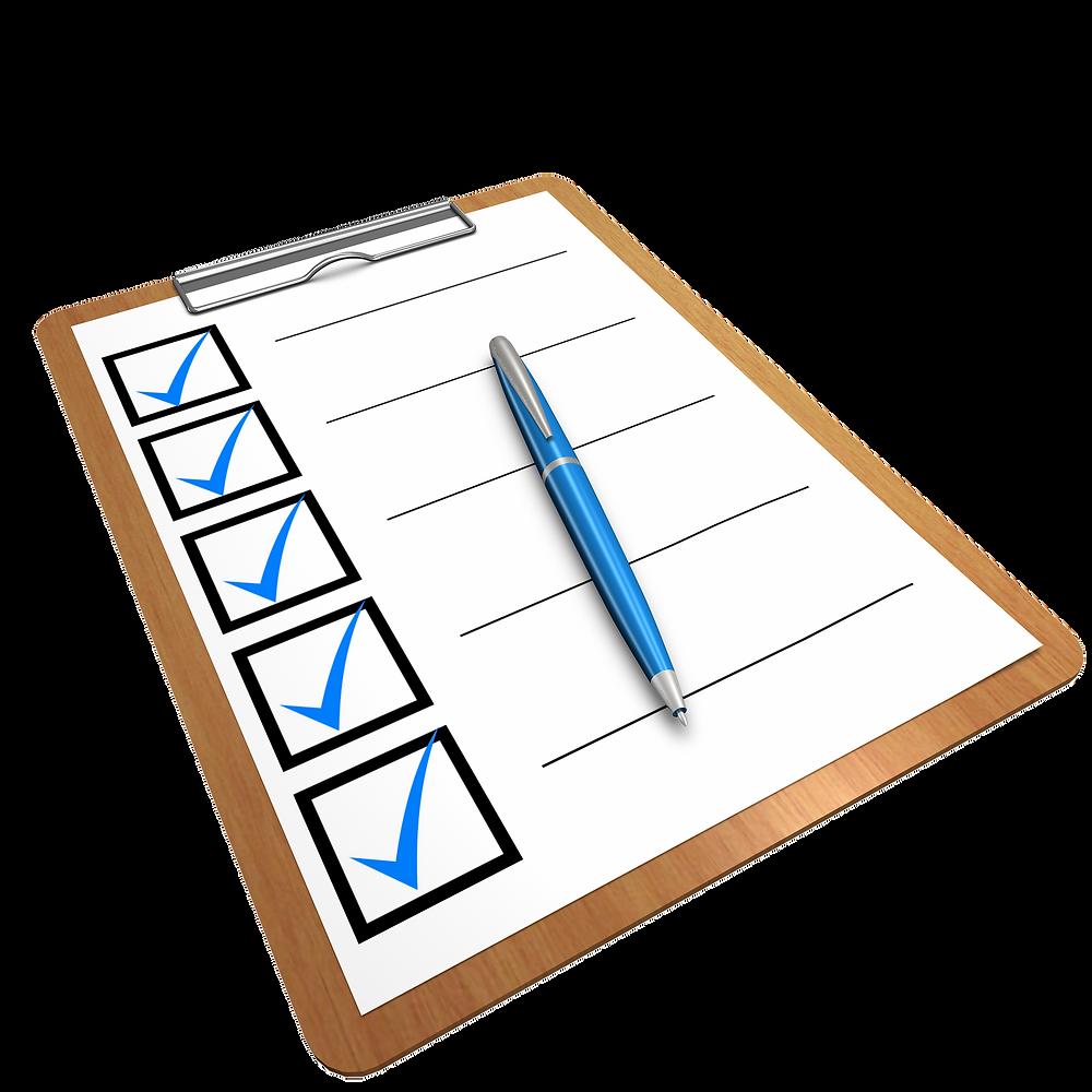 pre-shipping checklist clipboard