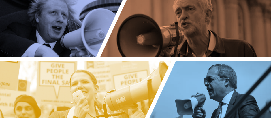 What topics did the parties' 2019 targeted adverts cover?