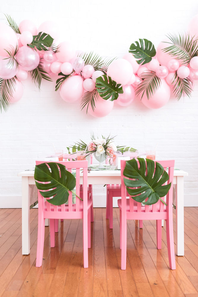 pink tropical leaf balloons