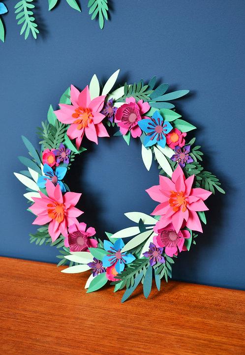 Jewel tone paper flower wreath kit
