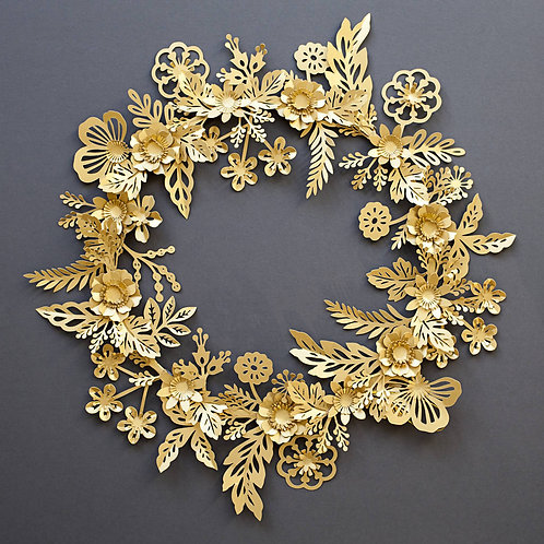 Handmade Metallic Gold Paper Flower Wreath