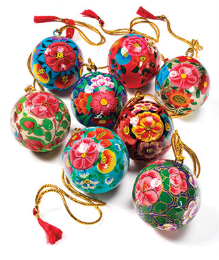 folky hand painted baubles