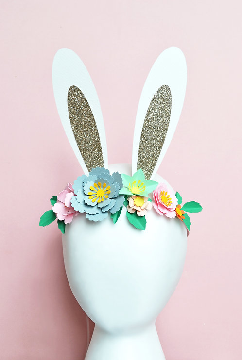 Paper flower bunny ear head band craft kit