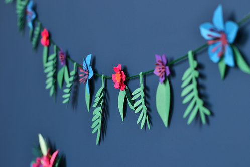 Paper flower leafy garland craft kit