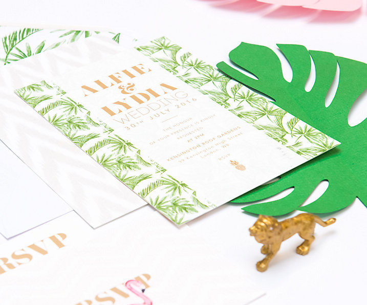 Abigail Warner tropical wedding invite john lewis