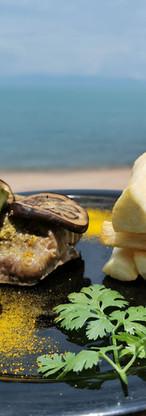 Chibomo with cassava fries and eggplants