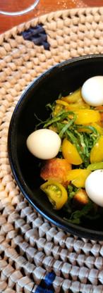 Vegetables with quail eggs and vinaigrette