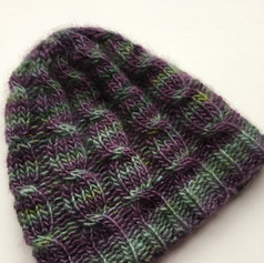 Purple and Green Cable Hat