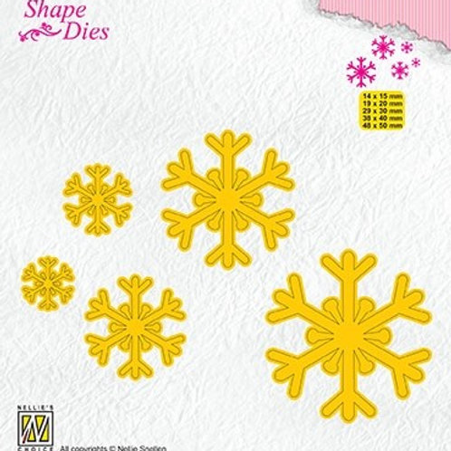 Nellie`s Stanzformen Schneeflocken 5 Grössen